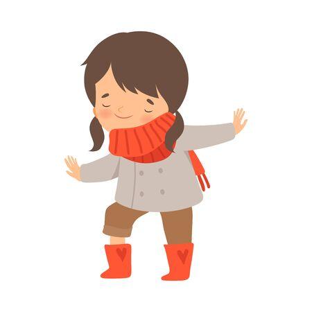 Little Girl Dressing Up Herself Vector Illustration
