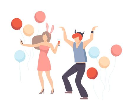 Man And Woman Cheerfully Dancing With Balloons At A Party Vector Illustration Isolated On White Background