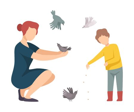 Woman Walking with Her Son in the Park and Feeding Pigeons Vector Illustration Ilustração