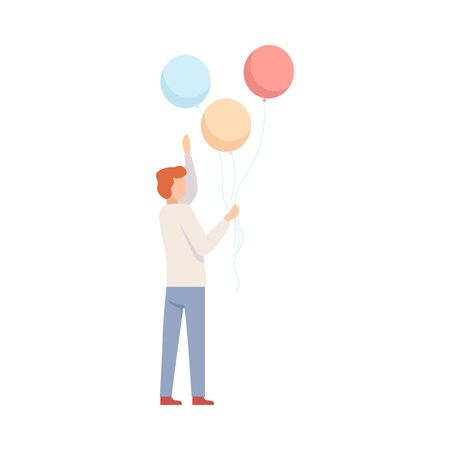Young Man Holding Coloful Balloons, Party Concept Vector Illustration Ilustracja