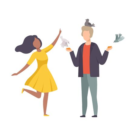 Young Faceless Couple Standing in the Park and Feeding Pigeons From Hand Vector Illustration