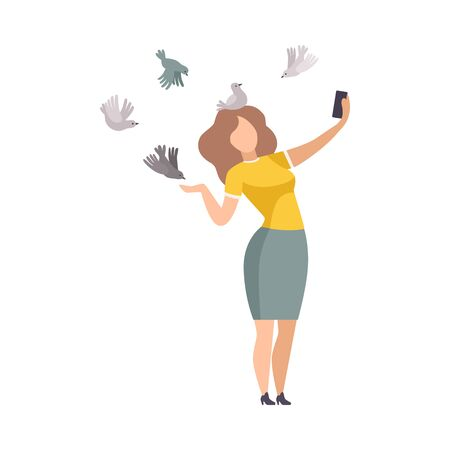 Young Woman Feeding Birds in Park and Making Selfie with Her Smartphone Vector Illustration