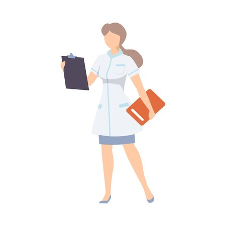 Medical Woman Nurse Standing In White Robe With Paper Documents Flat Vector Illustration