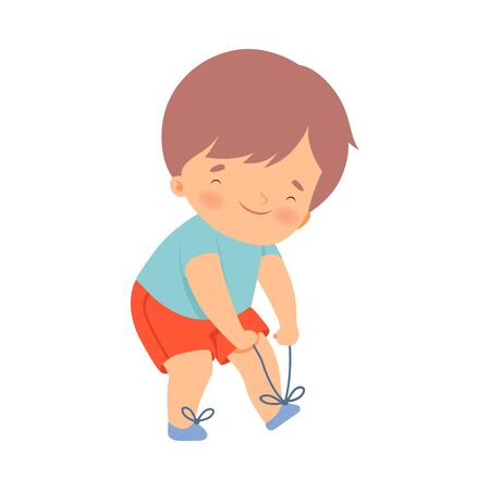 Little Boy Dressing Up Himself Vector Illustration