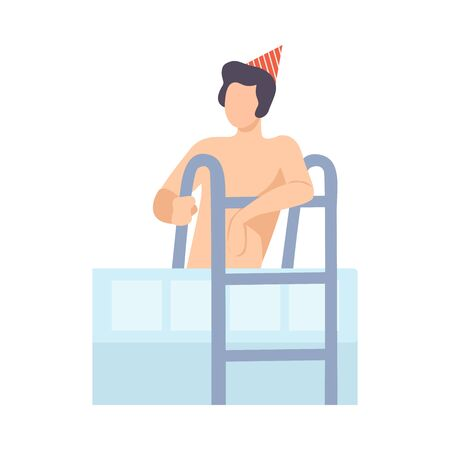 Guy In Festive Hat In Pool At Birthday Party Vector Illustration Isolated On White Background