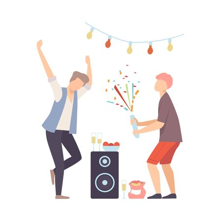 Men On Party Dancing And Exploding Firecracker Vector Illustration Cartoon Character