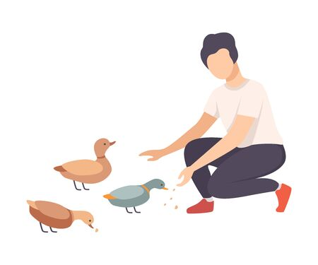 Young Faceless Man Sitting on His Haunches and Feeding Wild Ducks in the Park Vector Illustration Ilustração