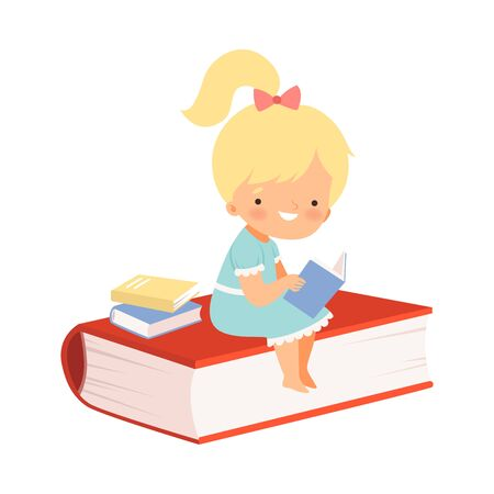 Little Cute Girl Sitting on Huge Book Cover and Learning to Read Vector Illustration 向量圖像