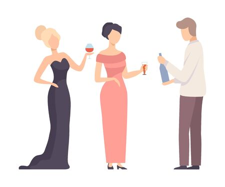 Two Girls At The Event And Waiter Carrying Alcoholic Drinks Vector Illustration Isolated On White Background Ilustracja