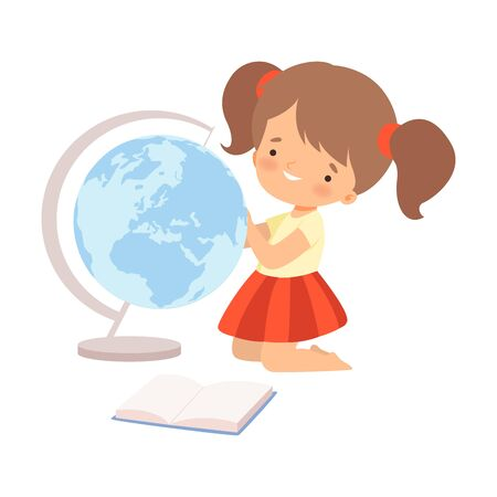 Little Cute Girl Examining Globe and Learning to Read Vector Illustration