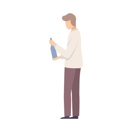 Young Man Trying To Open A Bottle On Party Vector Illustration Ilustracja