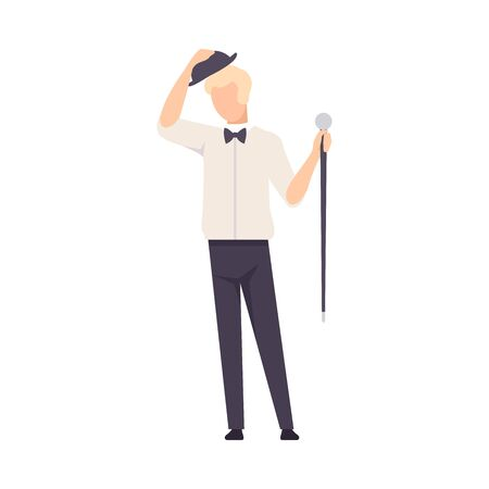 Man In Shirt And In Hat And With Cane Greeting Audience Vector Illustration Isolated On White Background 向量圖像