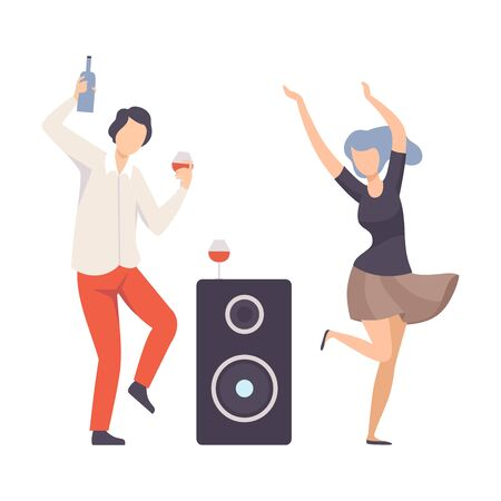 Guy And Girl Dancing With Drinks And A Musical Speaker At A Party Or Disco Vector Illustration Isolated On White Background Ilustrace