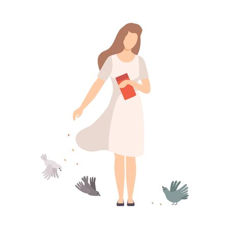 Young Woman Walking Along the Park and Feeding Pigeons with Crumbles Vector Illustration