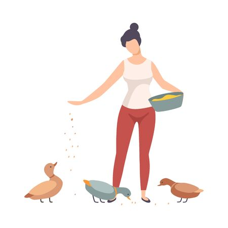 Young Woman Wearing T-shirt Standing and Feeding Domestic Ducks on the Farm Vector Illustration