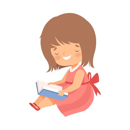 Little Girl Sitting on Floor and Learning to Read Vector Illustration