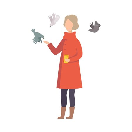 Young Woman Wearing Coat Feeding Pigeons From Her Hand Vector Illustration