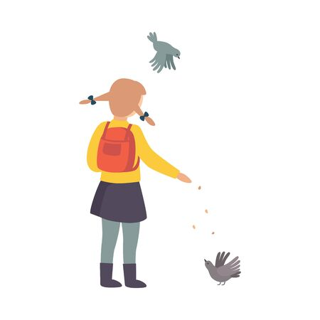 Child Stopped Feeding Pigeons on His Way Home from School Vector Illustration