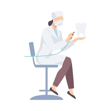 Dentist Female In White Robe Sitting With Special Equipments Flat Vector Illustration 向量圖像