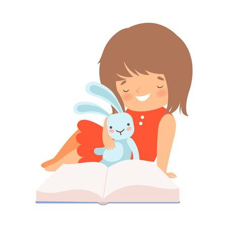 Little Girl Sitting with Toy Hare and Learning to Read Vector Illustration 向量圖像