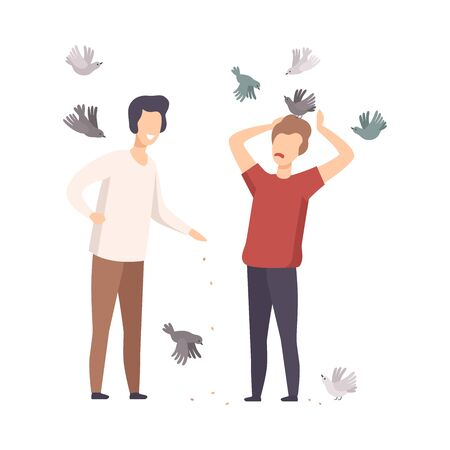 Young Male Friends Walking in Park and Feeding Birds Vector Illustration