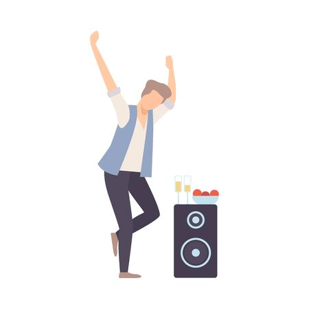 Young Man Dancing Close To The Acoustic Audio Speaker On Party Vector Illustration Ilustração