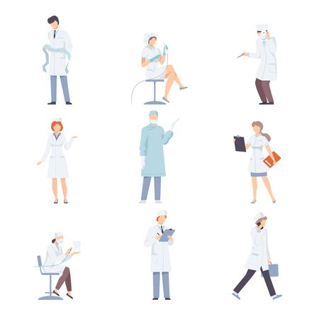 Medical Workers In White Uniform In Different Actions Flat Vector Illustration Set
