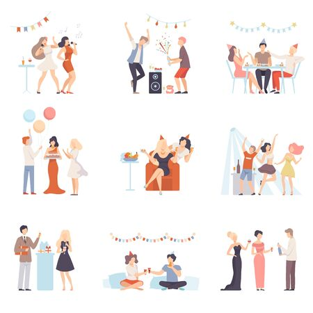 Holidays And Events, People Having Fun At Party, Singing, Congratulating Each Other Vector Illustration Set Isolated On White Background