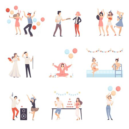 Parties And People Celebrate Different Events Vector Illustration Set Isolated On White Background