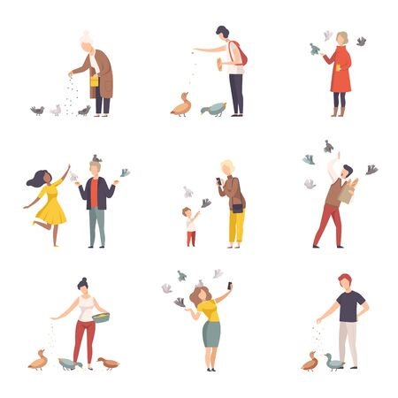 People Characters Walking and Feeding Pigeons on Town Squares Vector Illustrations Set