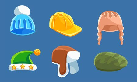 Set With Different Kind Of Hats And Headwears Vector Illustration Cartoon Character