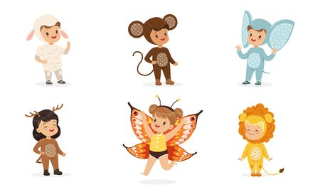 Cute children in costumes of animals and insects. Vector illustration. Illustration
