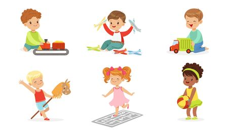 Children play with different toys. Set of vector illustrations.