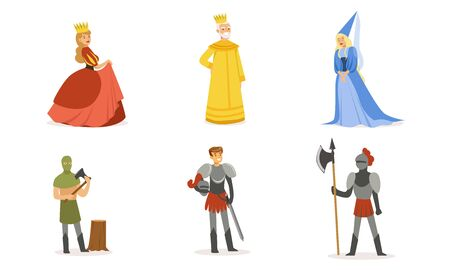 People in medieval clothes. Set of vector illustrations.