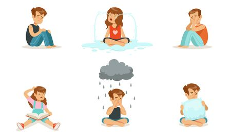 Children are upset and cry. Vector illustration.