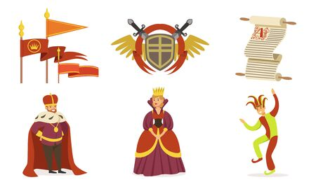 People in medieval clothes. Coat of arms, scroll and flags. Set of vector illustrations.