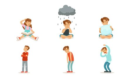 Children are sad and cry. Set of vector illustrations. Illustration