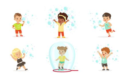 Boys and girls blow bubbles. Set of vector illustrations.