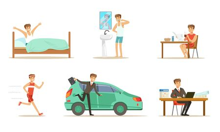 Morning routine of a mans day. Set of vector illustrations.
