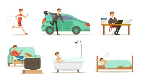 Daily routine morning and evening men. Set of vector illustrations. Ilustracja