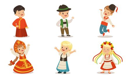 Children in national clothes from different countries. Set of vector illustrations. Archivio Fotografico - 134316112