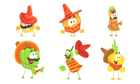 Cartoon traditional mexican food. Set of vector illustrations.