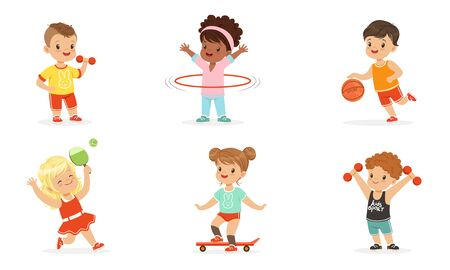Children engage in various sports. Set of vector illustrations.