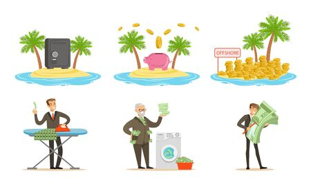 Symbols of offshore and illegal money laundering. Set of vector illustrations.