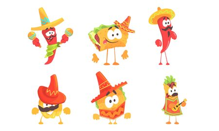Cartoon humanized traditional mexican food. Set of vector illustrations.