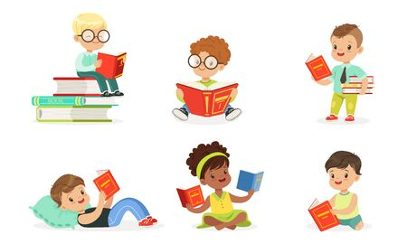 Children read a lot of books. Set of vector illustrations.