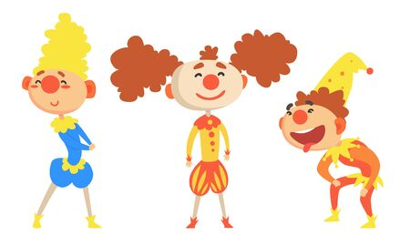 Set Of Three Cheerful Holidays Clowns In Colorful Clothes And Hats Vector Illustration Cartoon Character