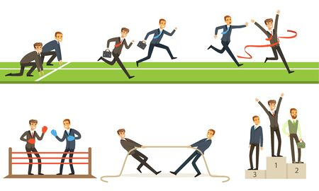 Business Competition And Rivalry Among Managers Vector Illustration Set Isolated On White Background