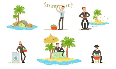 Offshore and money laundering. Set of vector illustrations.