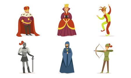 People of different classes in medieval clothes. Set of vector illustrations.
